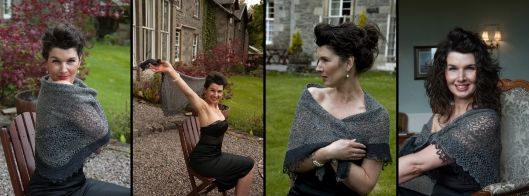 The most inticate shawl on our rage knitted by Heather Steel. A spectacular creation.
